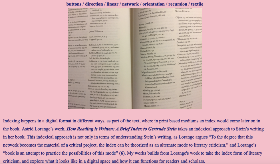 Screen shot of Morgan Gates' Twine project. This page of the project is a link that displays an image of indexes and then some related text.