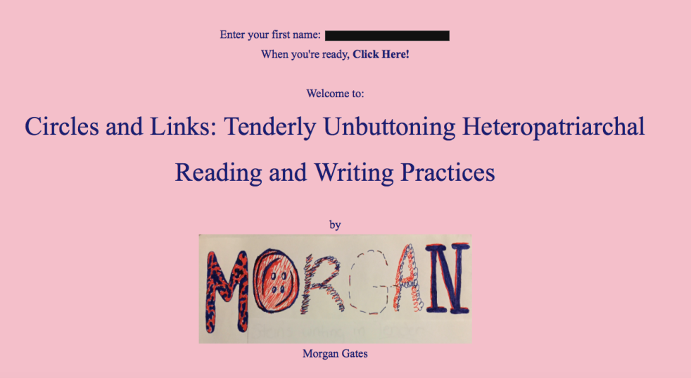 Screenshot of Morgan Gates' digital born Twine project on Gertrude Stein. Image shows the welcome page and title of the project.