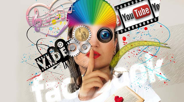 Collage of social media logo and imagery.