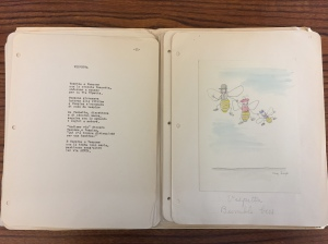 """Manuscript pages for children's book. A Poem in Italian with accompanying hand drawn imagery titled """"Vespetta"""" or """"Bumblebee."""""""