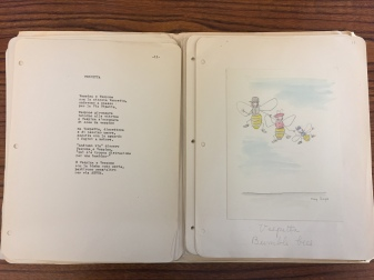 "Manuscript pages for children's book. A Poem in Italian with accompanying hand drawn imagery titled ""Vespetta"" or ""Bumblebee."""