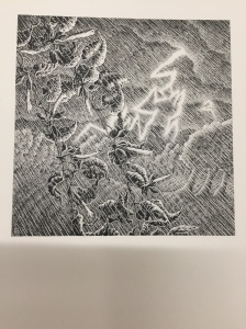 Black and white high contrast collotype image of hand drawn landscape with thunderstorm and branch