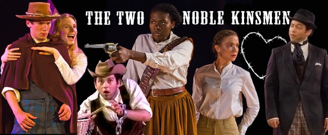 Collaged image characters in U.S. western costuming with the play's title, The Two Noble Kinsmen